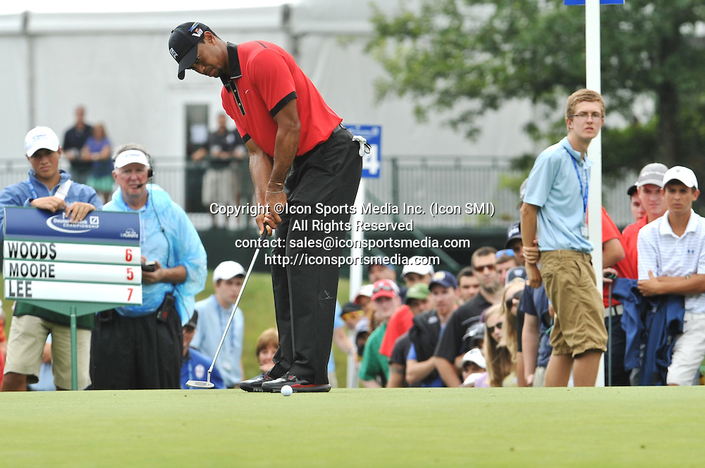 02 September 2013:Tiger Woods tries to sink a short putt from on the 13th green during the Final Round of the Deutsche Bank Championship at TPC Boston in Norton, MA***Editorial Use Only*****