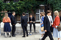 Sixth form students at Westminster school at breaktime.