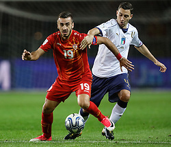 October 6, 2017 - Turin, Italy - Matteo Darmian (R) of Italy national team and Marjan Radeski of FYR Macedonia national team vie for the ball during the 2018 FIFA World Cup Russia qualifier Group G football match between Italy and FYR Macedonia at Stadio Olimpico on October 6, 2017 in Turin, Italy. (Credit Image: © Mike Kireev/NurPhoto via ZUMA Press)
