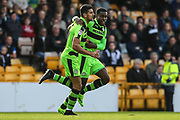 Forest Green Rovers Omar Bugiel(11) scores a goal 1-1 and celebrates with Forest Green Rovers Dale Bennett(2) during the EFL Sky Bet League 2 match between Port Vale and Forest Green Rovers at Vale Park, Burslem, England on 16 September 2017. Photo by Shane Healey.