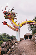 My Lam Hot Springs entrance with cement dragon.