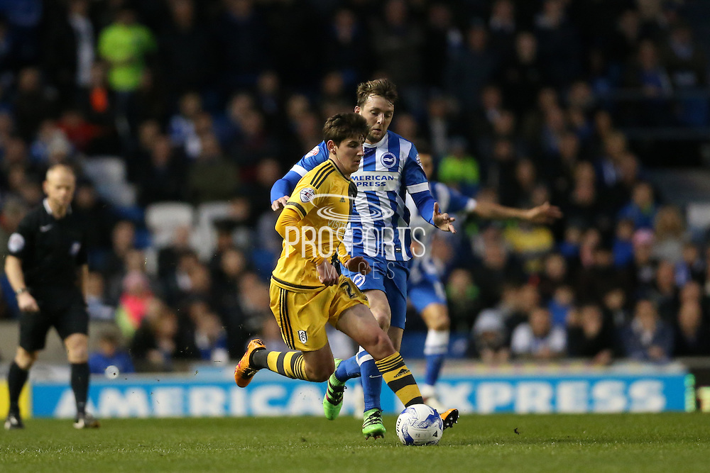 Fulham midfielder Emerson Hyndman (28) during the Sky Bet Championship match between Brighton and Hove Albion and Fulham at the American Express Community Stadium, Brighton and Hove, England on 15 April 2016.