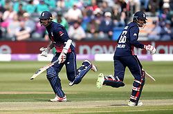 Alex Hales of England and Joe Root of England run between the wickets - Mandatory by-line: Robbie Stephenson/JMP - 05/05/2017 - CRICKET - Brightside County Ground - Bristol, United Kingdom - England v Ireland - Royal London One Day Cup