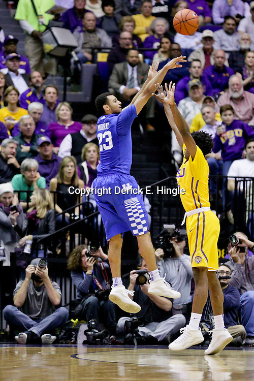 Jan 5, 2016; Baton Rouge, LA, USA; Kentucky Wildcats guard Jamal Murray (23) shoots over LSU Tigers guard Antonio Blakeney (2) during the first half of a game at the Pete Maravich Assembly Center. Mandatory Credit: Derick E. Hingle-USA TODAY Sports