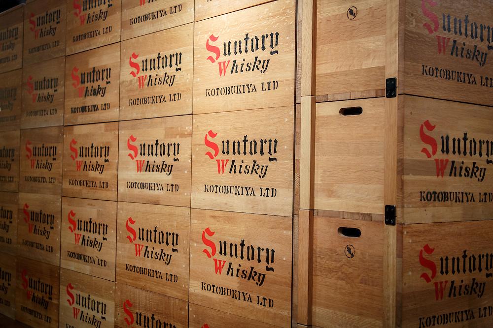 "Crates bearing the name ""Kotobukiya Ltd,"" on display at Yamazaki Distillery in Yamazaki, Osaka Prefecture, Japan, November 6, 2015. Suntory, which owns Yamazaki Distillery, was originally founded as Kotobukiya Ltd. in 1921 by Shinjiro Torii. Gary He/DRAMBOX MEDIA LIBRARY"