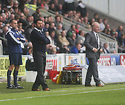 Dundee manager Paul Hartley and St Mirren boss Tommy Craig - St Mirren v Dundee, SPFL Premiership at St Mirren Park<br /> <br />  - © David Young - www.davidyoungphoto.co.uk - email: davidyoungphoto@gmail.com