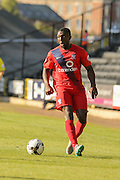York City defender Femi Illesami during the Sky Bet League 2 match between Notts County and York City at Meadow Lane, Nottingham, England on 26 September 2015. Photo by Simon Davies.