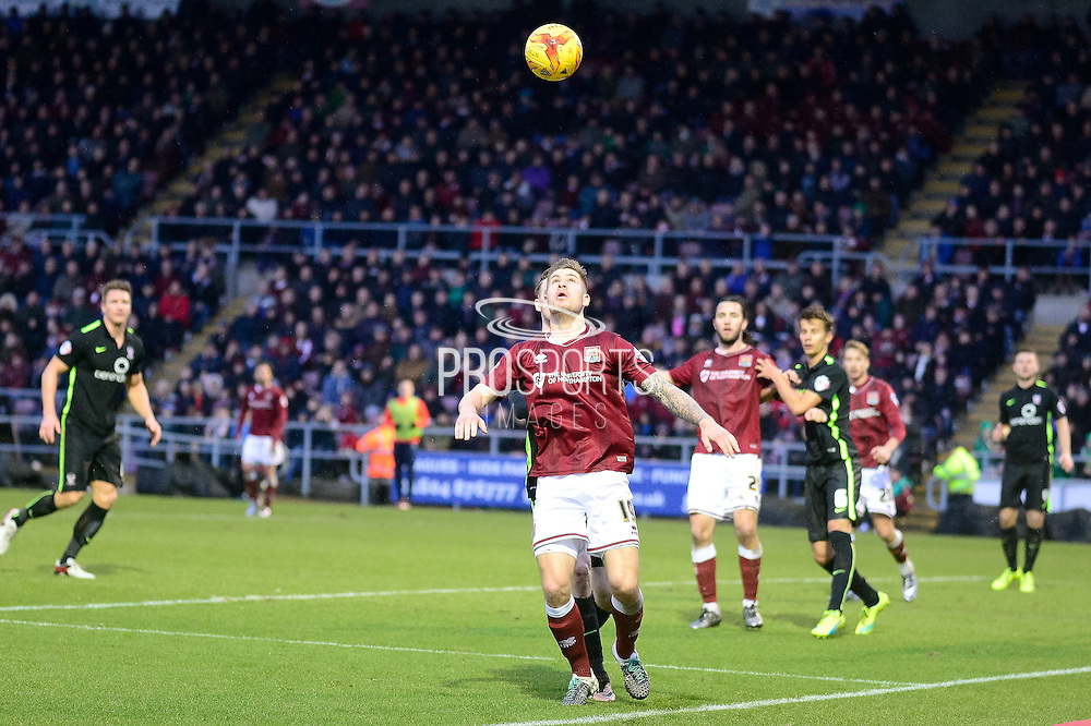 Northampton Town Striker James Collins watches the ball during the Sky Bet League 2 match between Northampton Town and York City at Sixfields Stadium, Northampton, England on 6 February 2016. Photo by Dennis Goodwin.