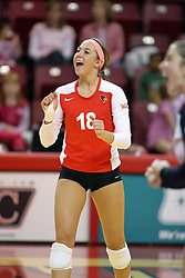 29 October 2011: Kaitlyn Early celebrates a point for Illinois State During a match between the Creighton Bluejays and the Illinois State Redbirds at Redbird Arena in Normal Illinois