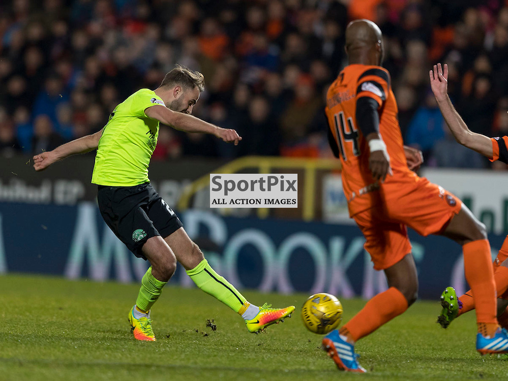 Dundee Utd v Hibernian   SPFL season 2016-2017  <br /> <br /> Andrew Shinnie (Hibernian) gets shot away during the Ladbrokes Championship match between Dundee Utd &amp; Hibernian at Tannadice Park Stadium on Friday 2 December 2016<br /> <br /> Picture: Alan Rennie