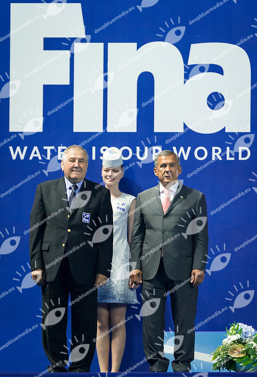 Podium<br /> From L to R<br /> MARCULESCU Cornel FINA<br /> Rustan Minnikhonov Rustan Minnikhanov President of Republic of Tatarstan<br /> Team Free Final<br /> Day8 10/07/2015<br /> XVI FINA World Championships Aquatics<br /> Synchro<br /> Kazan Tatarstan RUS July 24 - Aug. 9 2015 <br /> Photo Pasquale Mesiano/Deepbluemedia/Insidefoto