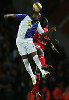 Photo: Paul Thomas/Sportsbeat Images.<br /> Blackburn Rovers v Liverpool. The FA Barclays Premiership. 03/11/2007.<br /> <br /> Blackburn's Benni McCarthy (L) wins the ball from Momo Sissoko.