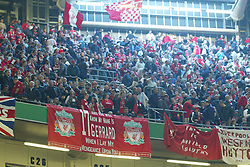CARDIFF, WALES - Sunday, March 2, 2003: Liverpool's fans with banners against Manchester United during the Football League Cup Final at the Millennium Stadium. (Pic by David Rawcliffe/Propaganda)
