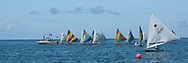 Half the fleet at one of four buoy race starts on Day 2 of the Harkers Island Regatta.