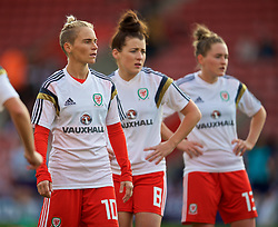 SOUTHAMPTON, ENGLAND - Friday, April 6, 2018: Wales' Jessica Fishlock and Angharad James during the pre-match warm-up before the FIFA Women's World Cup 2019 Qualifying Round Group 1 match between England and Wales at St. Mary's Stadium. (Pic by David Rawcliffe/Propaganda)