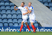 GOAL Matt Clarke celebrates scoring 1-3 during the EFL Sky Bet League 1 match between Rochdale and Portsmouth at Spotland, Rochdale, England on 29 September 2018.