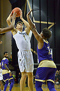 Vanderbilt Commodores forward Yanni Wetzell (1) shoots against Alcorn State Braves forward DeShaw Andrews (12) during the first half of a NCAA college basketball game in Nashville, Tenn., Friday, Nov 16, 2018. (Jim Brown/Image of Sport)