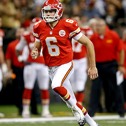 Aug 9, 2013; New Orleans, LA, USA; Kansas City Chiefs kicker Ryan Succop (6) against the New Orleans Saints during a preseason game at the Mercedes-Benz Superdome. The Saints defeated the Chiefs 17-13. Mandatory Credit: Derick E. Hingle-USA TODAY Sports