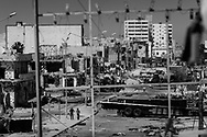 Ruined landscape of Tripoli street where in April 2011 fierce fighting opposed the uprised population of Misrata against the invading Gadhafi's army that  was forced out of the city. 13 May 2011.