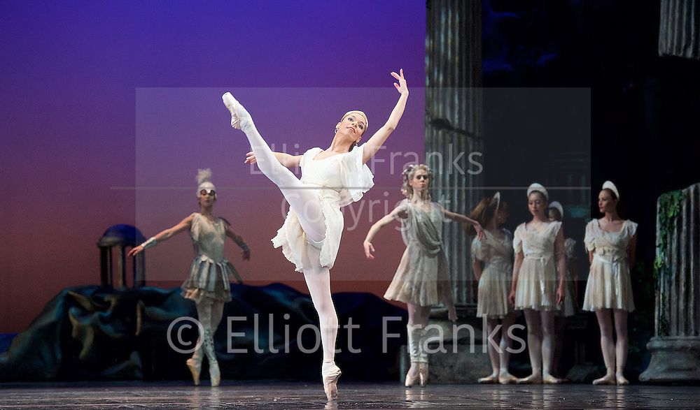 Sylvia<br /> Birmingham Royal Ballet <br /> choreography by David Bentley <br /> at the Birmingham Hippodrome, Birmingham, Great Britain<br /> rehearsal <br /> 23rd June 2015 <br /> <br /> <br /> Celine Gittens as Diana<br /> <br /> <br /> <br /> <br /> Photograph by Elliott Franks <br /> Image licensed to Elliott Franks Photography Services