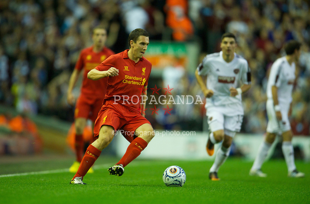 LIVERPOOL, ENGLAND - Thursday, August 30, 2012: Liverpool's Stewart Downing in action against Heart of Midlothian during the UEFA Europa League Play-Off Round 2nd Leg match at Anfield. (Pic by David Rawcliffe/Propaganda)