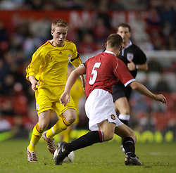 Manchester, England - Thursday, April 26, 2007: Liverpool's Steven Irwin in action against Manchester United's James Chester during the FA Youth Cup Final 2nd Leg against Liverpool at Old Trafford. (Pic by David Rawcliffe/Propaganda)