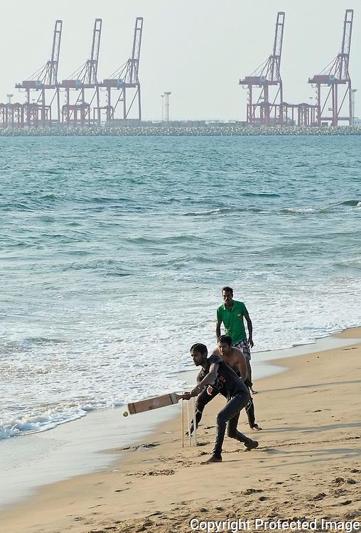 Cricket on the beach, Colombo, Sri Lanka.