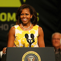 First Lady Michelle Obama delivers remarks at the Disabled American Veterans  National Convention at the Orlando Hilton Ballroom in Orlando, Florida on Saturday, August 10, 2013. (AP Photo/Alex Menendez)