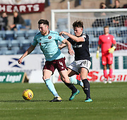 30th September 2017, Dens Park, Dundee, Scotland; Scottish Premier League football, Dundee versus Hearts; Hearts' John Souttar holds off Dundee's Lewis Spence