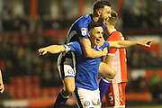 GOAL Ian Henderson celebrates scoring 0-2 during the EFL Sky Bet League 1 match between Walsall and Rochdale at the Banks's Stadium, Walsall, England on 6 March 2018. Picture by Daniel Youngs.