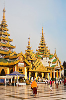 Shwedagon Pagoda and plaza, Yangon, Myanmar. Exotic people and places wall art and stock images. Fine art photography prints for sale. Stock images.