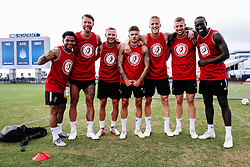 Winners Jay Dasilva, Nathan Baker, Andreas Weimann, Jamie Paterson, Daniel Bentley, Adam Webster and Famara Diedhiou of Bristol City during a head tennis session in the afternoon of day 5 - Rogan/JMP - 15/07/2019 - IMG Academy, Bradenton - Florida, USA - Bristol City Pre-Season Tour Day 5.