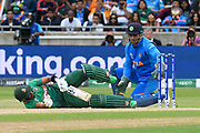 Sabbir Rahman of Bangladesh falls over during the ICC Cricket World Cup 2019 match between Bangladesh and India at Edgbaston, Birmingham, United Kingdom on 2 July 2019.