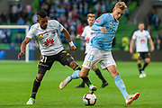 MELBOURNE, VIC - NOVEMBER 09: Melbourne City midfielder Nathaniel Atkinson (13) competes with Wellington Phoenix forward Roy Krishna (21) at the Hyundai A-League Round 4 soccer match between Melbourne City FC and Wellington Phoenix on November 09, 2018 at AAMI Park in Melbourne, Australia. (Photo by Speed Media/Icon Sportswire)