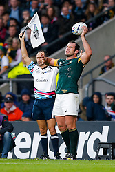 South Africa Hooker Bismarck du Plessis throws at the lineout - Mandatory byline: Rogan Thomson/JMP - 07966 386802 - 24/10/2015 - RUGBY UNION - Twickenham Stadium - London, England - South Africa v Wales - Rugby World Cup 2015 Semi Finals.