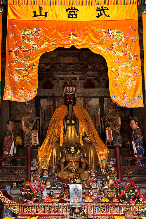 Asia, China, Hubei province.  Statue of the God of Zhenwu in the Purple Heaven Palace taoist temple on Wudang moutain (Wudang-san), a World Heritage mountain with many Taoist monasteries.