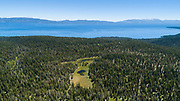 Paige Meadows, a popular hike and mountain bike trail in North Lake Tahoe along the Tahoe Rim Trail as seen from the air.