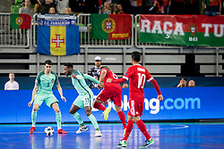 Pany Varela of Portugal and Eder Lima of Russia during futsal semifinal match between National teams of Russia and Portugal at Day 9 of UEFA Futsal EURO 2018, on February 8, 2018 in Arena Stozice, Ljubljana, Slovenia. Photo by Urban Urbanc / Sportida