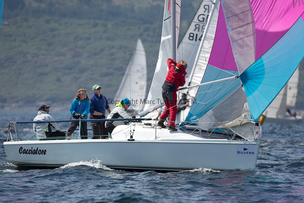 Final days' racing at the Silvers Marine Scottish Series 2016, the largest sailing event in Scotland organised by the  Clyde Cruising Club<br /> <br /> Racing on Loch Fyne from 27th-30th May 2016<br /> <br /> GBR7115N, Cacciatore, John/Stewart Robertson, Royal Forth YC<br /> <br /> Credit : Marc Turner / CCC<br /> For further information contact<br /> Iain Hurrel<br /> Mobile : 07766 116451<br /> Email : info@marine.blast.com<br /> <br /> For a full list of Silvers Marine Scottish Series sponsors visit http://www.clyde.org/scottish-series/sponsors/
