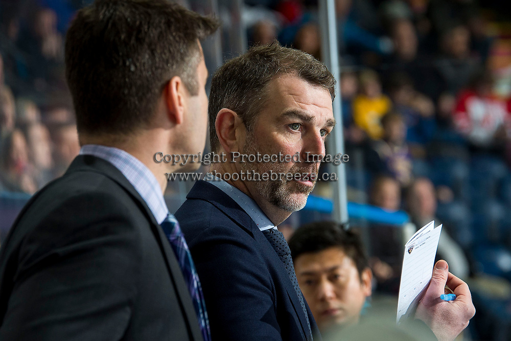 KELOWNA, BC - JANUARY 4:  Vancouver Giants' assistant coach Jamie Heward stands on the bench against the Kelowna Rockets at Prospera Place on January 4, 2020 in Kelowna, Canada. (Photo by Marissa Baecker/Shoot the Breeze)