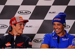 May 17, 2018 - Le Mans, France, France - Marc Marquez and Andrea Iannone attends a press conference of France MotoGP at Circuit Bugatti Le Mans. (Credit Image: © Gaetano Piazzolla/Pacific Press via ZUMA Wire)
