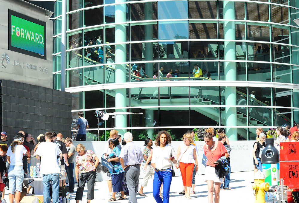 LAURA FONG   SUMMER KENT STATER About 3,000 Obama supporters came out to see the President at the John S. Knight Center Wednesday.