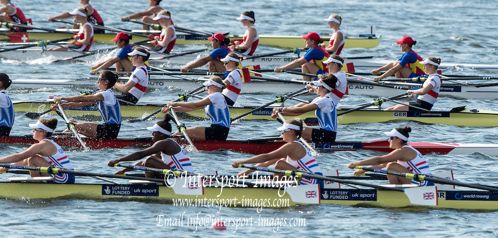 Rotterdam. Netherlands.   Junior SEMI FINAL A/B, JW4X. start. at the  2016 JWRC, U23 and Non Olympic Regatta. {WRCH2016}  at the Willem-Alexander Baan.   Saturday  27/08/2016 <br /> <br /> [Mandatory Credit; Peter SPURRIER/Intersport Images]