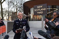 © Licensed to London News Pictures. 22/03/2017. London, UK. Assistant Commissioner Mark Rowley gives a statement to the media outside New Scotland Yard following a terrorist attack.  He said that four people had been killed and 20 people injured. Assistant Commissioner Rowley also said that the situation was being treated as a terrorist incident. Photo credit : Stephen Chung/LNP