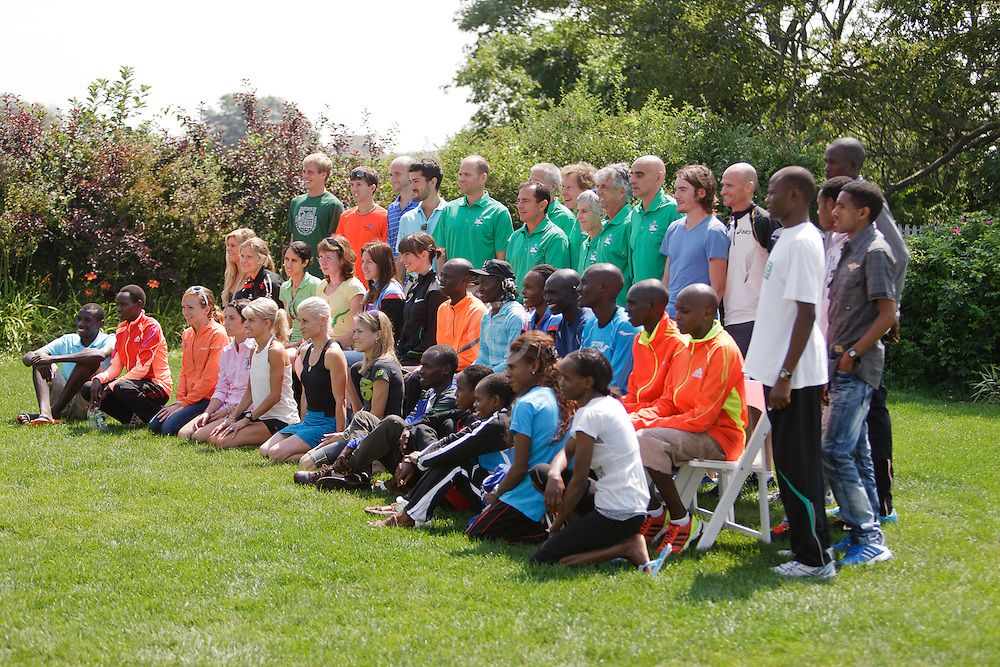 Joan Samuelson, Beach to Beacon 10K race founder , elite athlete and charity recipient (Center For Grieving Children) press conference , local and international elite athletes and race organizers pose for group shot