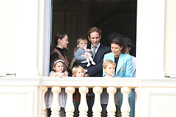 Princess Alexandra, Tatiana Santo Domingo, Andrea Casiraghi and Princess Caroline The royal family of Monaco posing at the balcony of the Grimaldi castle for the National Day festivities on November 19th 2019.
