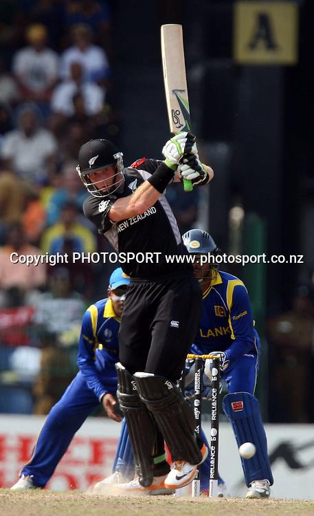 New Zealand batsman Martin Guptill plays a shot against Sri Lanka during ICC Cricket World Cup - 1st Semi-Final New Zealand vs Sri Lanka Played at R Premadasa Stadium, Colombo, 29 March 2011 - day/night (50-over match)