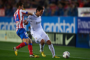 "MADRID, SPAIN - APRIL 27: (L) Gabi Fernandez of Club Atletico de Madrid competes for the ball with (R) Ricardo Izecson ""Kaka"" of Real Madrid CF during the Liga BBVA between Club Atletico de Madrid and Real Madrid CF at the Vicente Calderon stadium on April 27, 2013 in Madrid, Spain. (Photo by Aitor Alcalde Colomer)."