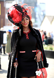 Lystra Adams arrives for the Grand National Day of the 2018 Randox Health Grand National Festival at Aintree Racecourse, Liverpool. PRESS ASSOCIATION Photo. Picture date: Saturday April 14, 2018. See PA story RACING Aintree. Photo credit should read: Peter Byrne/PA Wire