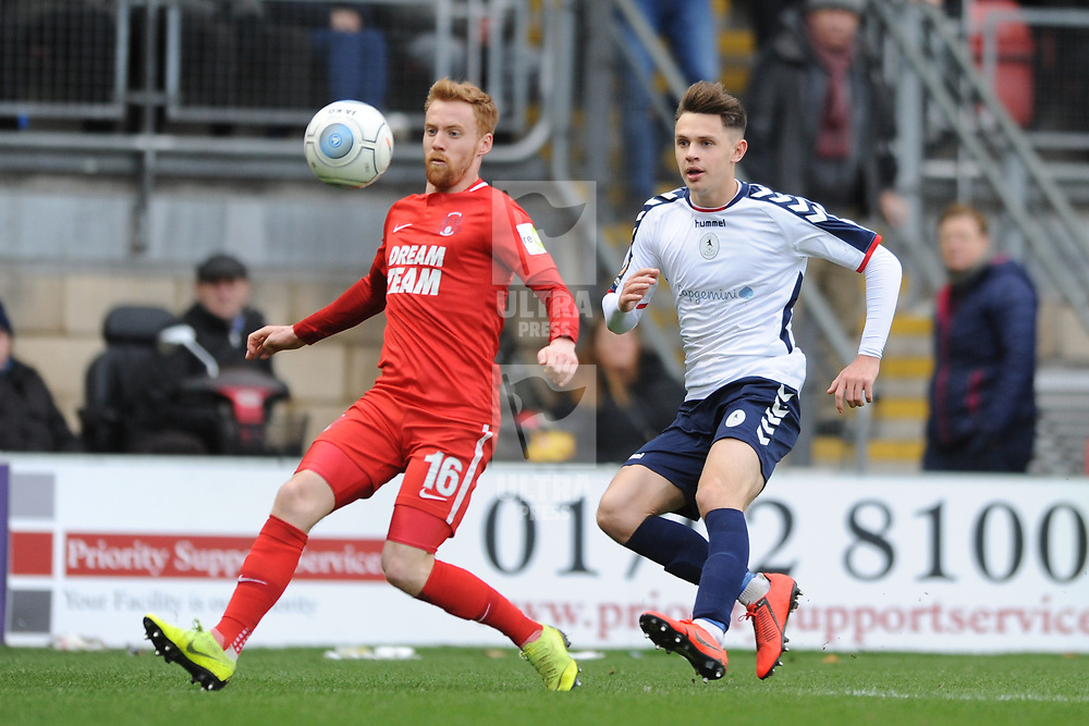 TELFORD COPYRIGHT MIKE SHERIDAN 16/3/2019 - Ryan Barnett of AFC Telford (on loan from Shrewsbury Town Football Club) closes down James Brophy of Orient during the FA Trophy semi final first leg fixture between Leyton Orient and AFC Telford United at Brisbane Road.